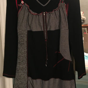 XL Red & Black Multi Knit Tunic